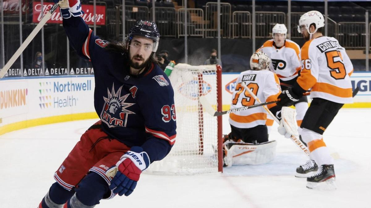 Mika Zibanejad ties NHL record and Rangers set scoring mark against Flyers with entire coaching staff out