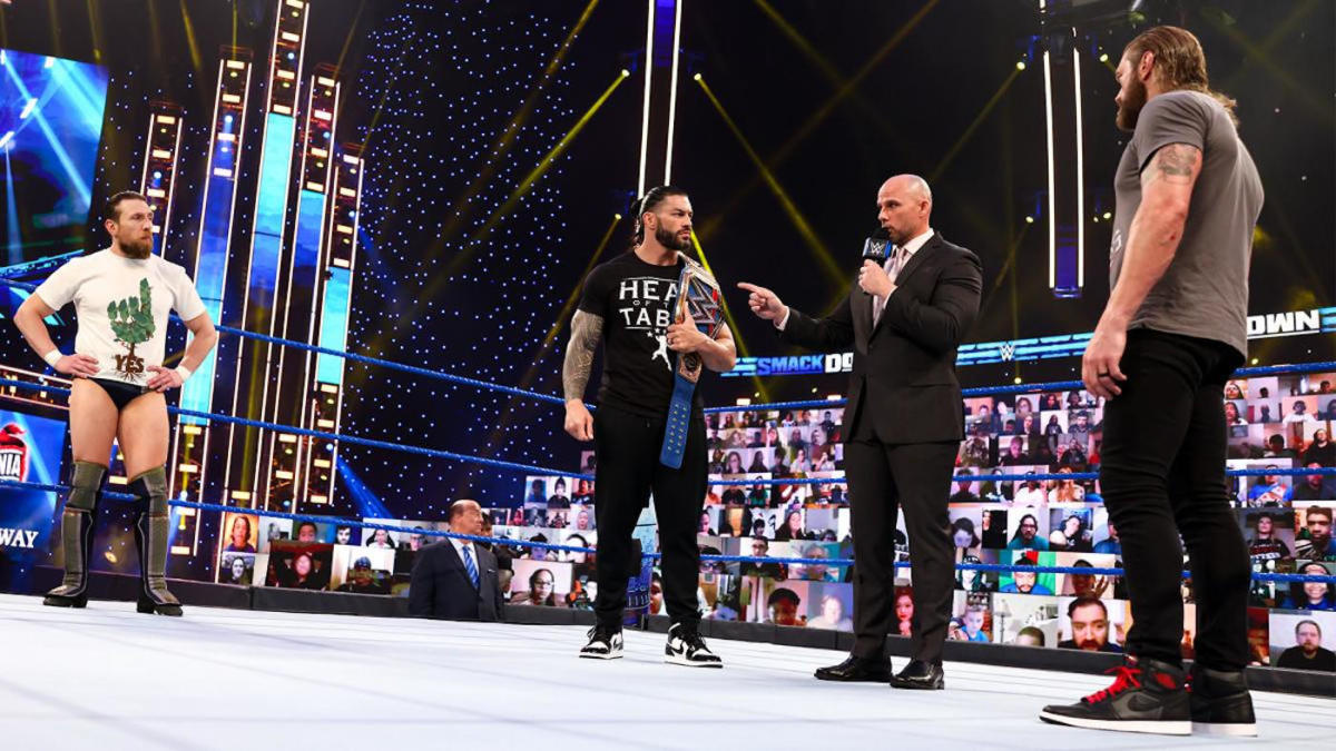 Wwe Wrestlemania 37 Roman Reigns Edge And Daniel Bryan Reflect On Improbable Journeys To Epic Main Event Cbssports Com