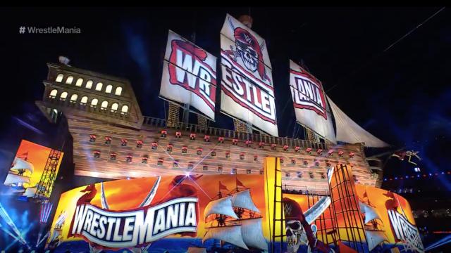 Wwe Wrestlemania 37 Stage Reveal Elaborate Set Design With Huge Screens Pirate Ship In Raymond James Stadium Cbssports Com