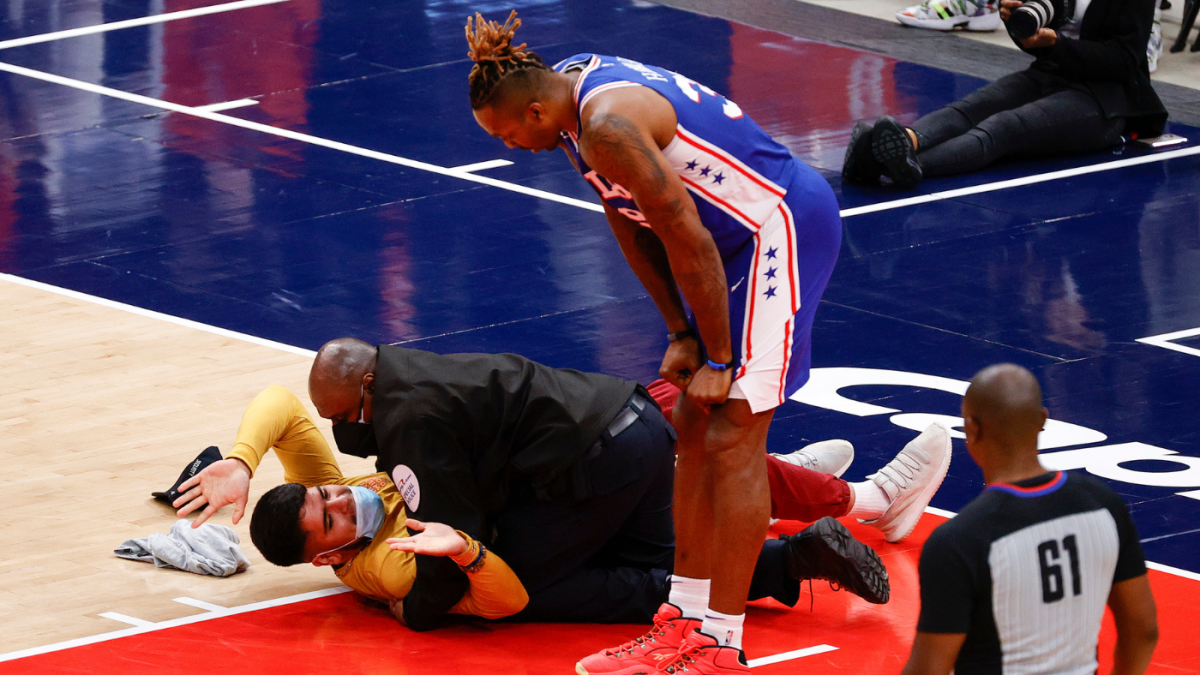 Wizards vs. 76ers: Security guard tackles fan who ran onto court during Game 4 at Capital One Arena – CBS Sports
