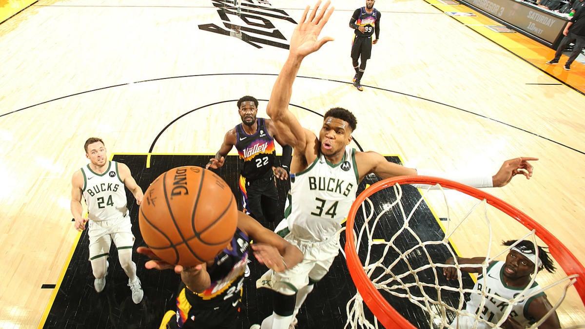 Bucks-Suns NBA Finals: Giannis Antetokounmpo chase-down block reminiscent  of LeBron James vs. Warriors in 2016 - CBSSports.com