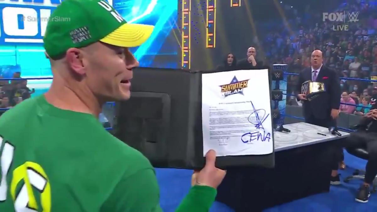 WWE SmackDown results, recap, grades: John Cena steals contract to face Roman Reigns at SummerSlam - CBSSports.com